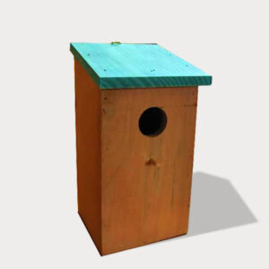 Wooden bird house,nest and cage size 12x 12x 23cm