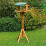 Fir-wood bird food feeder pet Staple Fiber Material rainproof roof