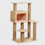Pet Cat Tree Wood Beige Cat Scratch