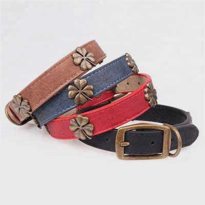 PU Dog Collar: New Style Four Leaf Clover Flower 06-0588 Pet collars leashes bandana: pet supplies oem custom collar bling dog collar