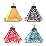 Dog Bed Tent: Multi-color Pet Show Tent Portable Outdoor Play Cotton Canvas Teepee 06-0941