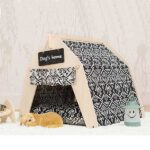 Waterproof Dog Tent: OEM 100% Cotton Canvas Pet Teepee Tent Colorful Wave Collapsible 06-0963